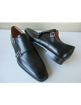 Magnanni Castor Leather Monk Wingtip Men Shoes Black New $385 Portugal by Magnanni