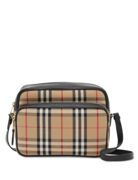 Medium Vintage Check And Leather Camera Bag by Burberry