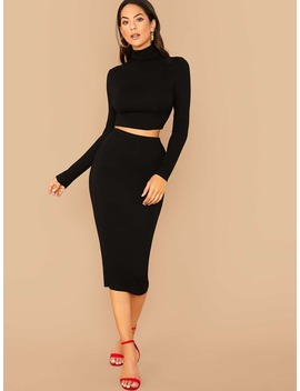 SheinHigh Neck Fitted Tee And Pencil Skirt Set by Sheinside