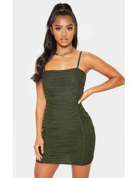 Petite Olive Khaki Strappy Ruched Front Mini Dress  by Prettylittlething