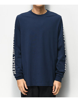 Herschel Supply Co. Sleeve Print Navy & White Long Sleeve T Shirt by Herschel Supply