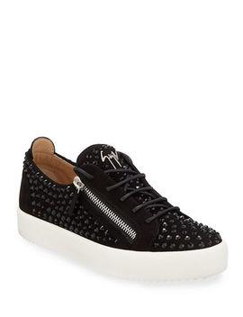 Giuseppe Zanotti Mens Crystal Embellished Suede Double Zip Sneakers by Giuseppe Zanotti