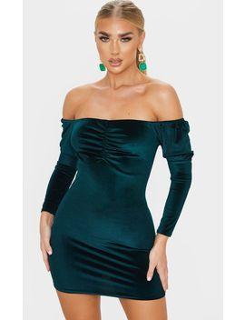 Emerald Green Velvet Bardot Bodycon Dress by Prettylittlething