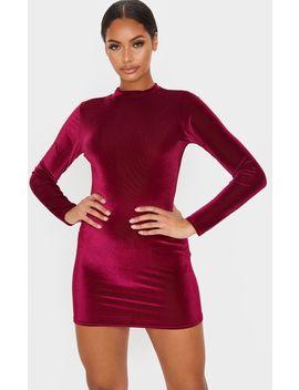 Burgundy Velvet Rib Long Sleeve High Neck Bodycon Dress by Prettylittlething