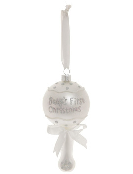 Baby's First Glass White Rattle by Myer Giftorium