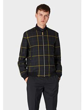 Men's Black And Yellow Check Wool Cashmere Bomber Jacket by Paul Smith