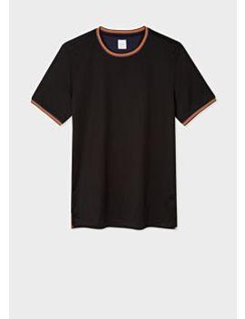 Men's Black Cotton T Shirt With 'artist Stripe' Trims by Paul Smith