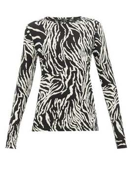 Zebra Print Cotton Jersey Long Sleeve T Shirt by Proenza Schouler
