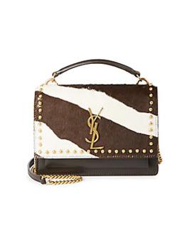 Sunset Zebra Stripe Calf Hair & Leather Shoulder Bag by Saint Laurent