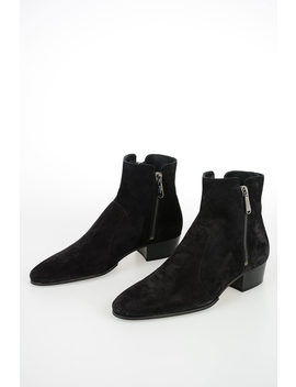 Suede Leather Ankle Boots by Balmain