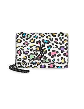 Small Kate Multicolor Leopard Print Leather Shoulder Bag by Saint Laurent