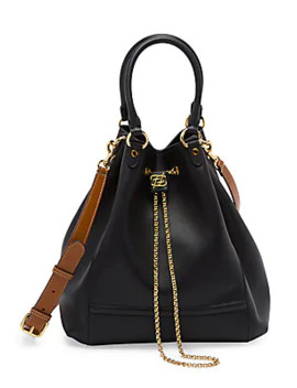 Karligraphy Chain Leather Bucket Bag by Fendi