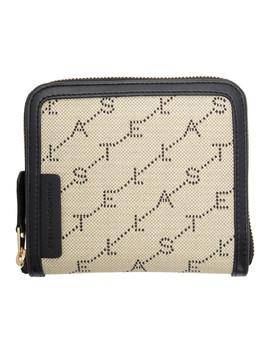Beige Square Monogram Zip Around Wallet by Stella Mccartney