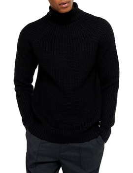 Classic Fit Waffle Turtleneck Sweater by Topman