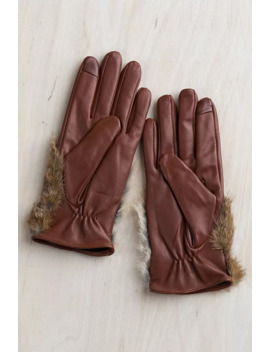 Women's Magnolia Lambskin Leather Gloves With Rabbit Fur Trim by Overland