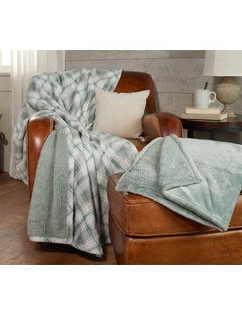 Berkshire Blankets Set Of 2 Plaid &Amp; Solid Throws Faux Fur Reverse Sherpa by Berkshire Blanket