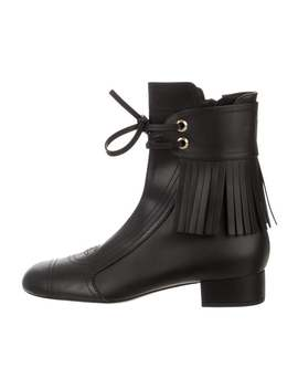 Cc Leather Fringe Ankle Boots by Chanel