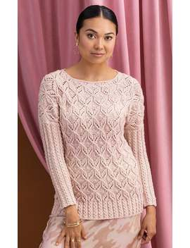 Textural Pink Pastel Pullover Sweater With A Delicate Geometric Pattern by Etsy