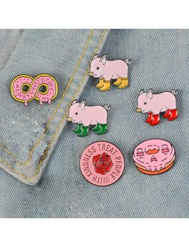 Pink Collection ! Harry Styles Pins Round Rose Flower Rain Boots Pig Soft Enamel Lapel Pin Badge Brooches by Ali Express.Com
