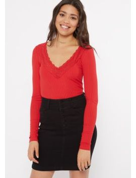 Red Lace Deep V Neck Top by Rue21