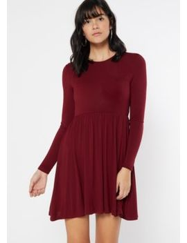 Burgundy Long Sleeve Babydoll Dress by Rue21