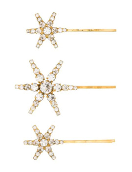 Aurelia Gold Tone Crystal Embellished Hair Pins by Jennifer Behr