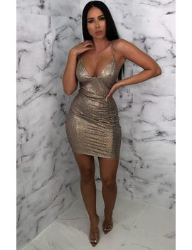 Gold Glitter Sparkly Plunge Bodycon Mini Dress   Meredith by Femme Luxe