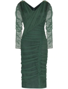 V Neck Ruched Mesh Dress by Dolce & Gabbana