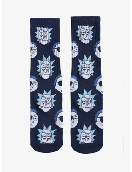 Rick And Morty Evil Blue Crew Socks by Hot Topic