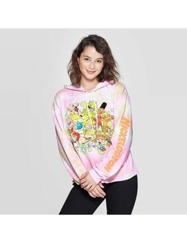 Women's Nickeldeon Tie Dye Long Sleeve Cropped Hoodie Sweatshirt (Juniors')   White/Pink by Nickelodeon