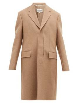 Laser Cut Placket Wool Twill Overcoat by Maison Margiela