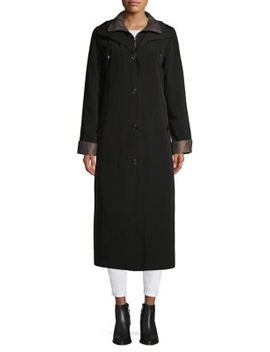 Buttoned Long Rain Coat by Gallery