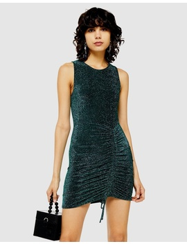 Metallic Built Up Ruched Dress by Topshop