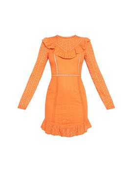 Bright Orange Broderie Anglaise Frill Collar Shift Dress by Prettylittlething