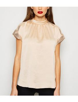 Stone Satin Sequin Panel High Neck Top by New Look