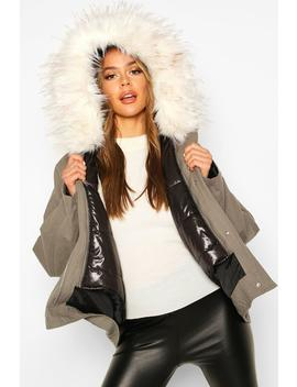 Faux Fur Trim Detachable Gilet Parka by Boohoo