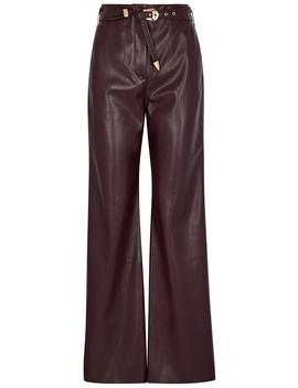 Kisa Burgundy Faux Leather Trousers by Nanushka
