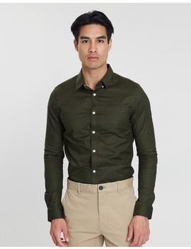 Long Sleeve Khaki Oxford Shirt by Burton Menswear