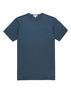 Men's Classic Cotton T Shirt In Dark Petrol by Sunspel