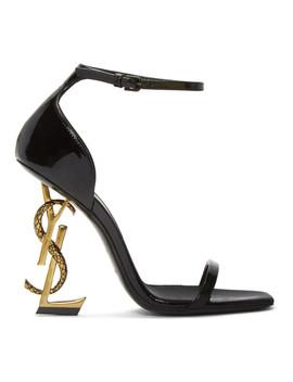 Black Patent Opyum Strappy Sandals by Saint Laurent