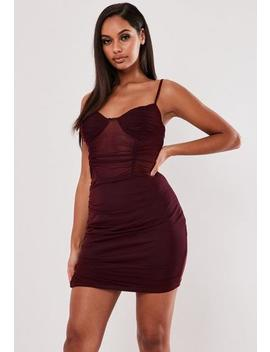 Burgundy Mesh Cami Mini Dress by Missguided