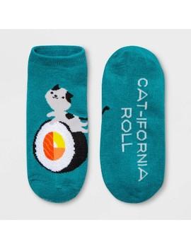 "Women's ""Cat Lifornia Roll"" Roll Low Cut Socks   Xhilaration™ Teal One Size by Xhilaration"