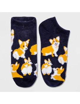 Women's Fuzzy Corgi Low Cut Socks   Xhilaration™ Navy Blue One Size by Xhilaration