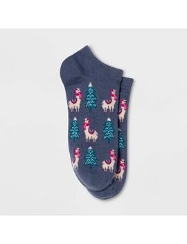 Women's Llamas And Trees Low Cut Socks   Xhilaration™ Blue One Size by Xhilaration