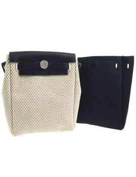 Hermes Her Bag Tpm 2 In 1 Shoulder Bag Beige Black Toile Gm Vintage Ak35529d by HermÈs