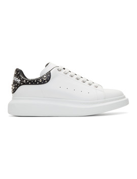 White Studded Logo Oversized Sneakers by Alexander Mcqueen