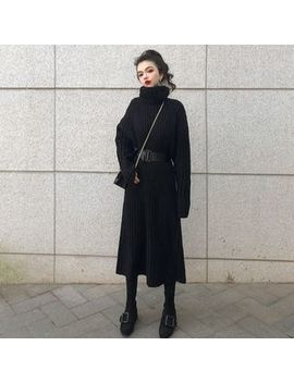 Concerindo   Turtleneck Sweater Dress With Belt by Concerindo
