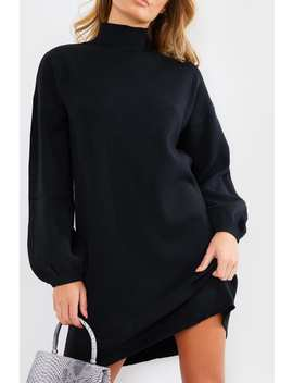 Black High Neck Oversized Knitted Mini Jumper Dress by In The Style