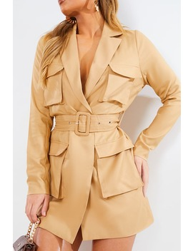 Camel Utility Blazer Dress by In The Style