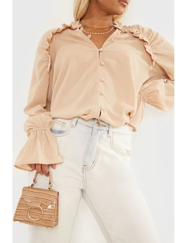 Camel Frill Shirt by In The Style